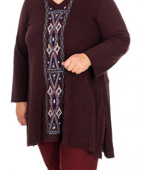 Bluza maro roscat cu broderie , Marime XL
