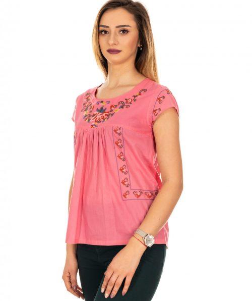 Bluza roz cu broderie, Marime S