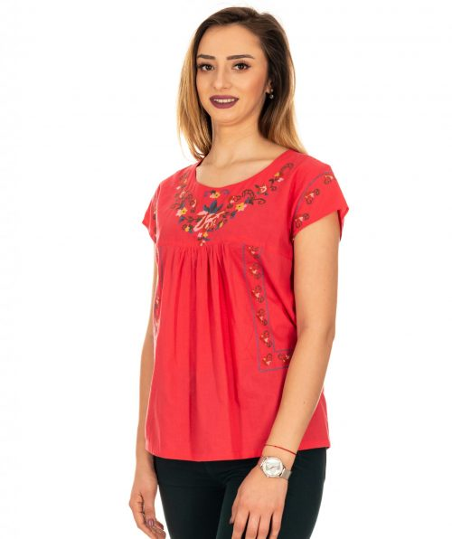 Bluza rosu corai cu broderie, Marime M