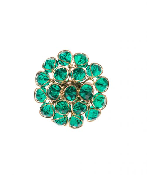 Inel lucrat manual cu pietre smarald